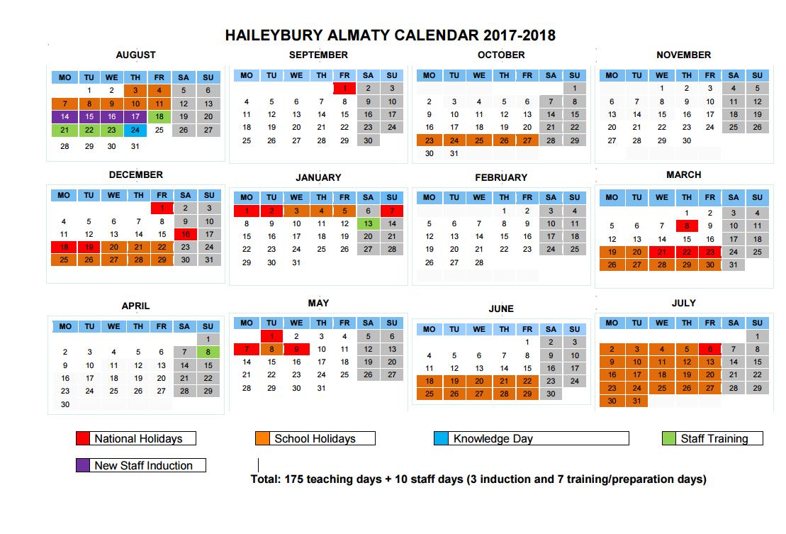 Календарь учителей на 2017-2018-2017 учебный год